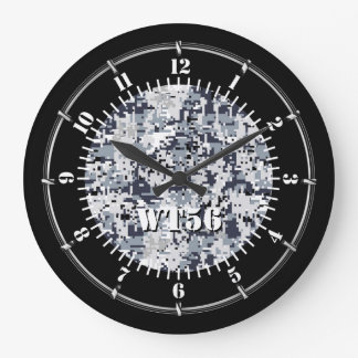 Personalized Urban Grey Camouflage on a Large Clock