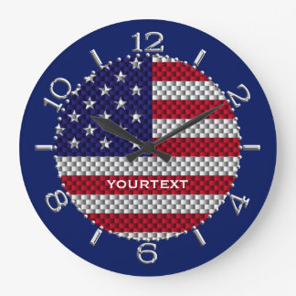 Personalized US Flag on Carbon Fiber Like Print Large Clock