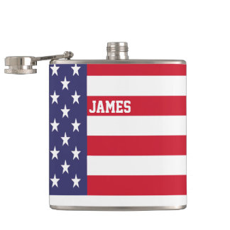 Personalized USA United States Flag Patriotic Hip Flask