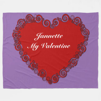 Personalized Valentine Heart Fleece Blanket