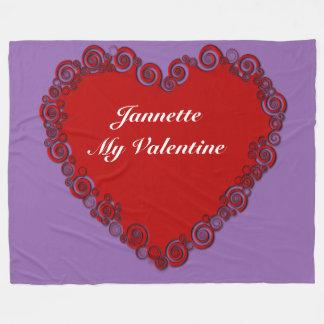 Personalized Valentine Heart Fleece Blanket