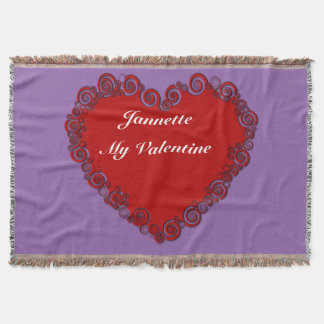 Personalized Valentine Heart Throw Blanket