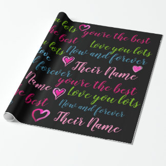 Personalized VALENTINE - Words of Love TEXT Wrapping Paper
