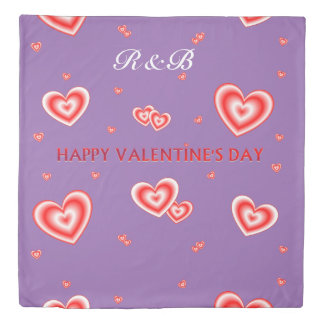 Personalized Valentines Hearts On Mauve Duvet Cover