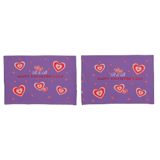 Personalized Valentines Hearts On Mauve Pillowcase
