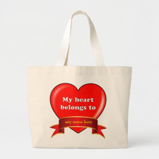 Personalized Valentine's jumbo tote. Large Tote Bag