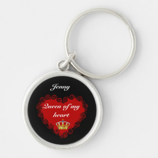 Personalized Valentines Queen Of My Heart Silver-Colored Round Keychain