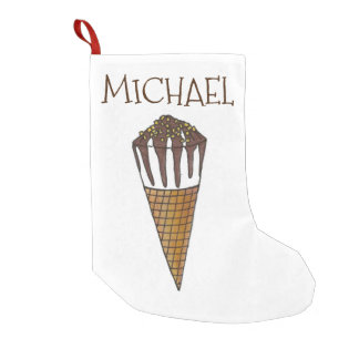 Personalized Vanilla Ice Cream Cone Stocking Small Christmas Stocking