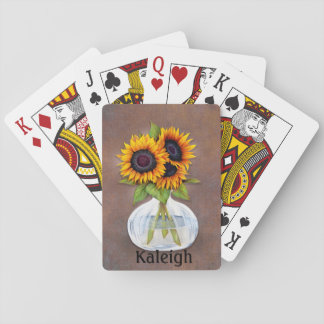 Personalized Vase of Orange Sunflowers on Brown Playing Cards