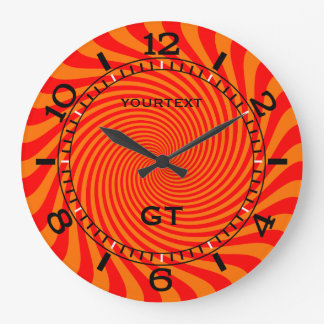 Personalized Vibrant Hot Orange Swirl Dial on a Large Clock