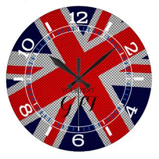 Personalized Vibrant Union Jack on Carbon Style Large Clock