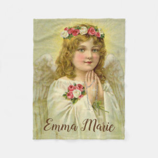 Personalized Vintage Angel praying Rosary Fleece Blanket