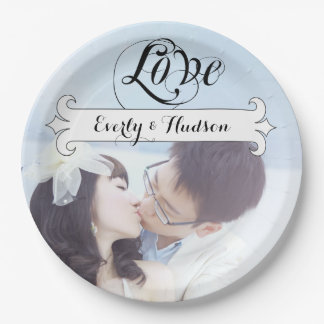 Personalized Vintage Banner Photo Wedding 9 Inch Paper Plate