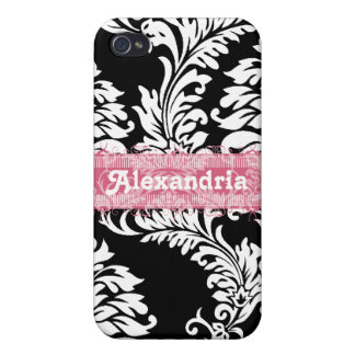Personalized Vintage Black Pink Damask iPhone Case Cover For iPhone 4
