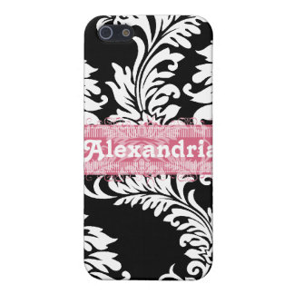 Personalized Vintage Black Pink Damask iPhone Case iPhone 5 Cases