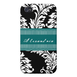 Personalized Vintage Black Teal Damask iPhone Case iPhone 4/4S Covers