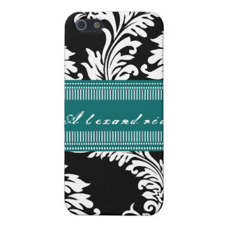 Personalized Vintage Black Teal Damask iPhone Case iPhone 5/5S Covers