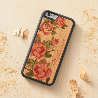 Personalized Vintage blush pink roses Peonies Carved Cherry iPhone 6 Bumper Case