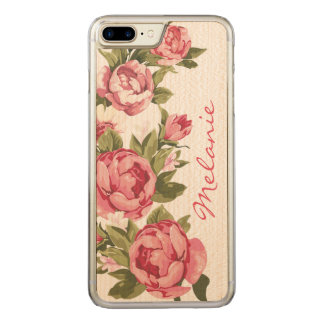 Personalized Vintage blush pink roses Peonies Carved iPhone 8 Plus/7 Plus Case