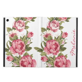 Personalized Vintage blush pink roses Peonies Cover For iPad Air