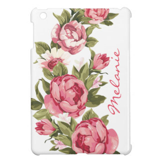 Personalized Vintage blush pink roses Peonies Cover For The iPad Mini