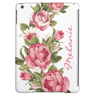 Personalized Vintage blush pink roses Peonies iPad Air Covers