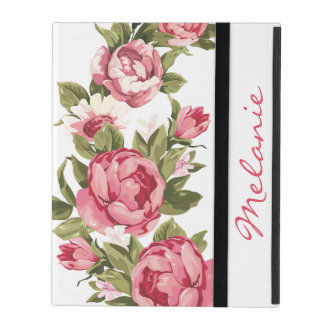 Personalized Vintage blush pink roses Peonies iPad Case