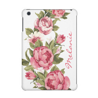 Personalized Vintage blush pink roses Peonies iPad Mini Retina Case