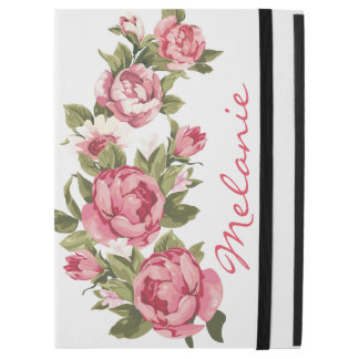 "Personalized Vintage blush pink roses Peonies iPad Pro 12.9"" Case"