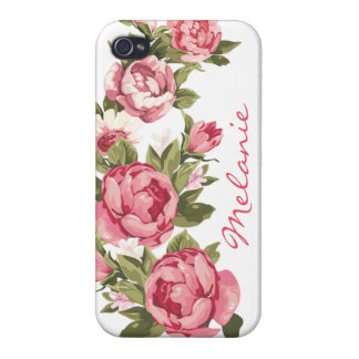 Personalized Vintage blush pink roses Peonies iPhone 4/4S Cover