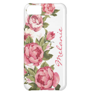 Personalized Vintage blush pink roses Peonies iPhone 5C Cases