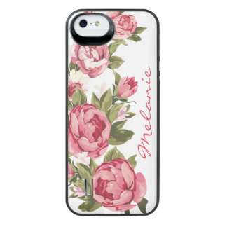 Personalized Vintage blush pink roses Peonies iPhone SE/5/5s Battery Case