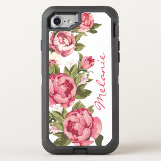 Personalized Vintage blush pink roses Peonies OtterBox Defender iPhone 8/7 Case