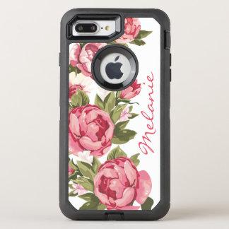 Personalized Vintage blush pink roses Peonies OtterBox Defender iPhone 8 Plus/7 Plus Case