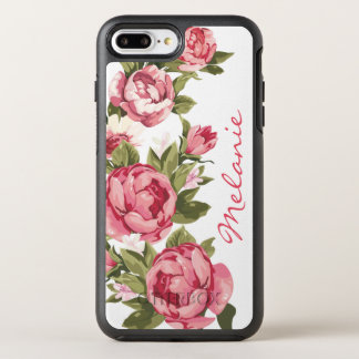 Personalized Vintage blush pink roses Peonies OtterBox Symmetry iPhone 8 Plus/7 Plus Case