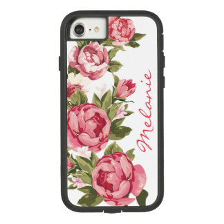 Personalized Vintage blush pink roses Peonies Pers Case-Mate Tough Extreme iPhone 8/7 Case