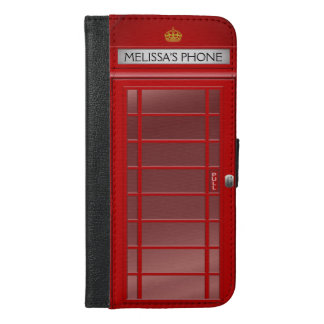 Personalized Vintage British Telephone Booth iPhone 6/6s Plus Wallet Case