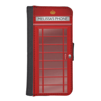 Personalized Vintage British Telephone Booth Phone Wallet