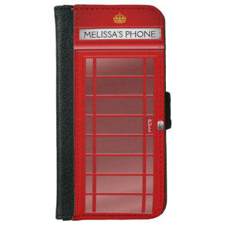 Personalized Vintage British Telephone Booth iPhone 6 Wallet Case