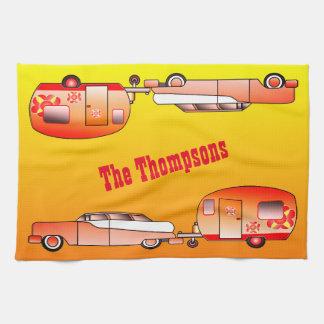 Personalized Vintage Car and Caravan Dish Towel