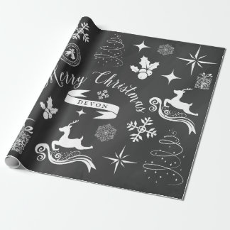 Personalized Vintage Chalkboard Christmas Wrap Wrapping Paper