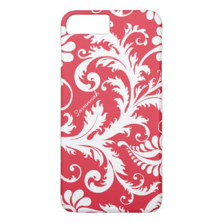 Personalized Vintage Damask change red any color iPhone 7 Plus Case