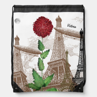 Personalized Vintage Eiffel Tower Collage Drawstring Bag