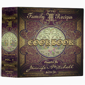 Personalized Vintage Family Recipe Cookbook Vinyl Binders