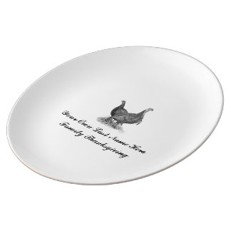Personalized Vintage Family Thanksgiving Porcelain Plate