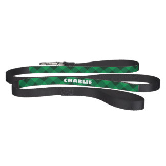 Personalized Vintage Forest Green Plaid Dog Leash. Pet Lead
