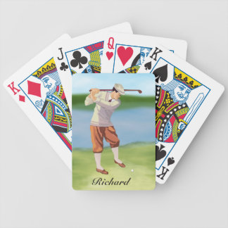 Personalized Vintage Golfer by the Riverbank Bicycle Playing Cards