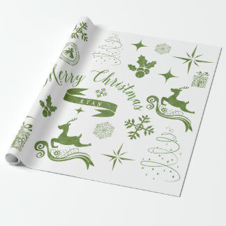 Personalized Vintage Green & White Christmas Wrap
