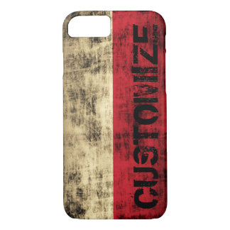 Personalized Vintage Grunge Polish Flag iPhone 7 Case