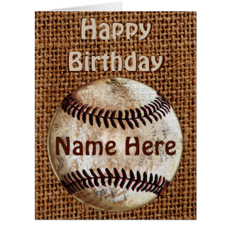Personalized Vintage Happy Birthday Baseball Cards